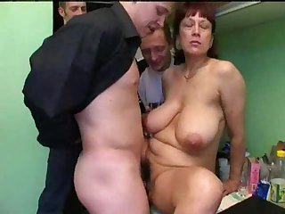 Mature lets three young-looking men have her
