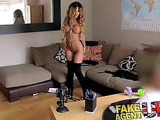 First Casting Porn Scene For UK Big Boobed Slut In Thigh High Boots
