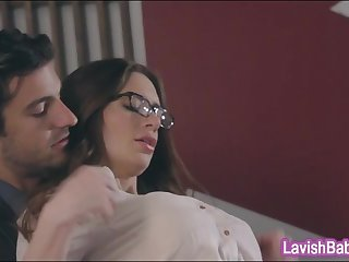 Huge tits babe Veronica Vain in glasses gets her twat ripped