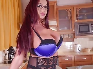 Slightly fat Kitchen Solo shenanigans - Sultry Brit Sucks Massive Tits