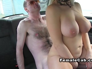 Busty female cab driver fucks hairy guy