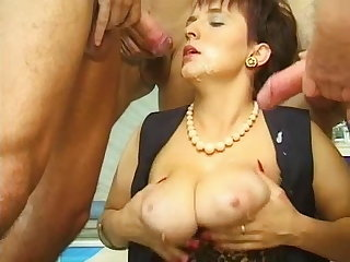 Janine Woods - Lactating MILF  Indoor Swimming Pool GANGBANG