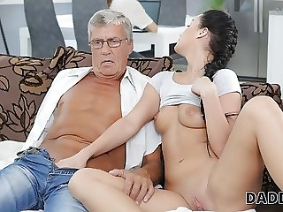 DADDY4K. Aroused cutie permits BFs daddy to fuck her greedy