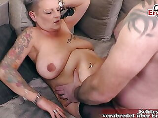 short haired German ugly mom with tattoo fucks housewife