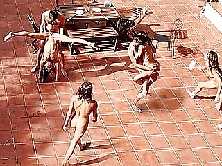 Couple Playing and Fucking in the Courtyard, outside