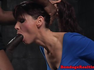 Gagged milf throatfucked while restrained
