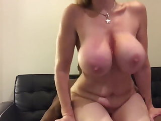 Big booty blonde rides BBC for the fans