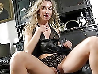 Alicia has Pearl Thongs & Leather Dress for Striptease Dance