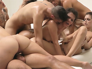 Crazy group orgy sex between people after a training