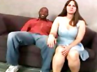 Chubby brunette gets graced with a big black cock to eat and fuck