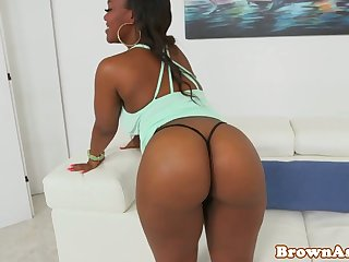 Busty black booty beauty bounces ass on cock