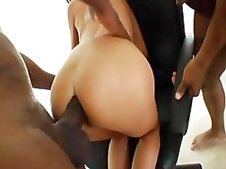 Sexy brunette secretary gets a double dose of big black jizz