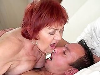 Real bbw granny gives blowjob a knob and additionally sits on it