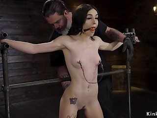 brunette sub drooling in device bondage film
