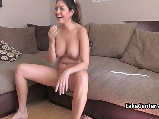 Mature brunette fucks on casting