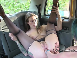 Female cab driver fisting sexy client
