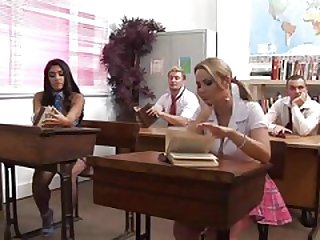 British Sluts Leah And Alexis Get Fucked In A Classroom