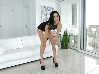 Cool dark haired, Megan Venturi took off her sundress and underpants and got pounded in the butt