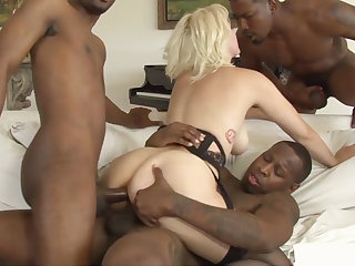 Stunning housewife interracial gangbanged by four BBCs