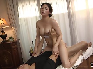 Huge tits Japanese hottie Meguri sensual massage turned sex