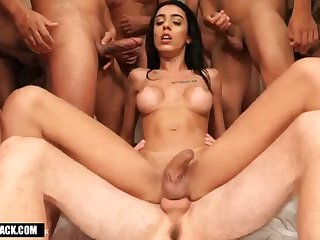 Alice Marques Gangbang By 11 Horny Male Cocks