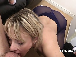 Mature blonde nailed agents cock on casting