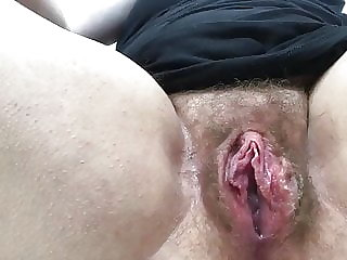 Big girl rubbing her wide open pussy