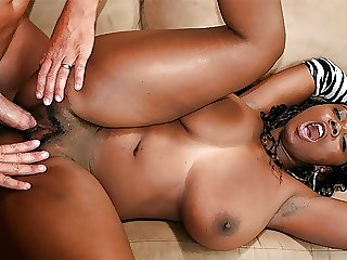 Black babe, Stacy Adams fucks a white guy on the couch