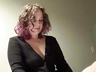 Curvy domme pegs trans sub slut in hotel with her strap on