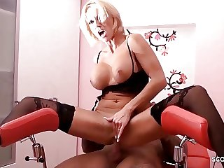 Amateur Anal Sex for German Lingerie MILF Kada on Gyno Chair