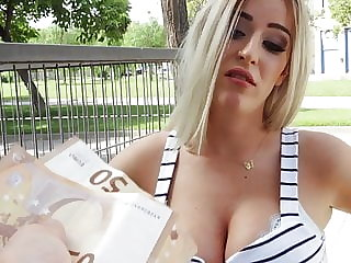 Public sex with a busty slut for money