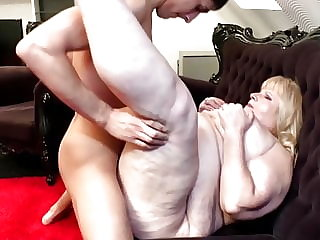 Mature fat mom gets rough sex from son