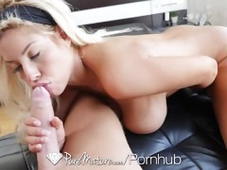 PureMature Gigantic melon tits MILF Bridgette B after yoga fuck