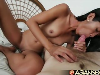 Asian Sex Diary - Tiny Filipina babe gets her fill of big white cock