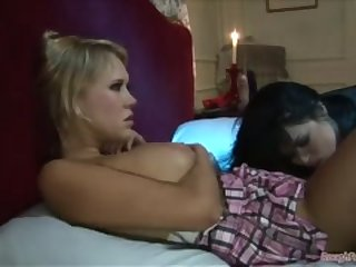 Eva Angelina and Carly Parker have hot strap-on session in bed