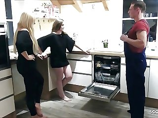Two German Teens Seduce the Homeworker to FFM Threesome