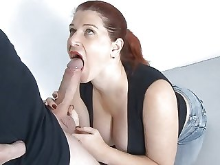 Big tit German MILF amazing tit fuck and cum splash