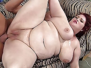 Big tit redhead BBW gets screwed by a well hung guy