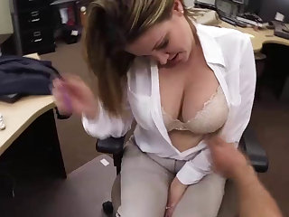 Business lady gets big dick as exchange payment for sex inside of the pawn shop office