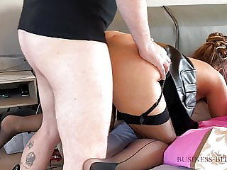 Business woman in missionary position - cum on tits for work, business-bitch